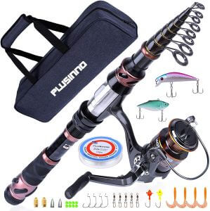 PLUSINNO Fishing Rod and Reel Combos, Saltwater and Freshwater Fishing Gear Kit